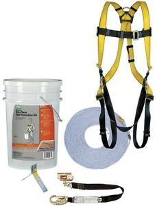 Fall Protection Kit 25 Ft Rope Vest style Harness Yellow Webbing Osha 6 piece
