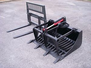Bobcat Skid Steer Attachment 48 Rock Grapple And 48 Pallet Forks Free Ship