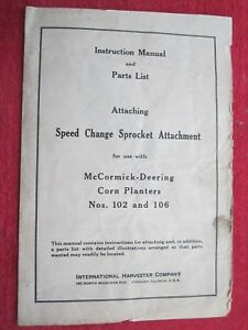 Mccormick Deering Corn Planters Speed Sprocket Attachment Instructions Manual