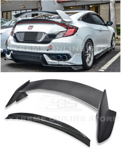 For 16 up Honda Civic Coupe Type R Rear Spoiler W Jdm Trunk Light Duckbill Wing