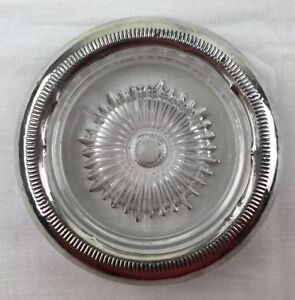 Vintage Sterling Silver And Glass 4 Coaster With Modern Lines Design