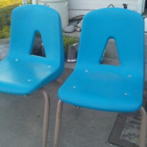 2 Vintage Griggs Molded Vinyl And Metal School Chair Adult Size 1960s