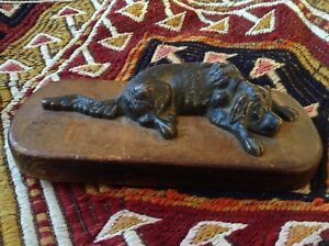 Antique Wien Bronze Statue Figure Sculpture Sleeping Dog Pet Wood Art Nouveau
