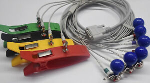 Set Schiller 10 Leads Ecg Ekg Cable With Chest Suction Cup Bulb And Limb Clamp