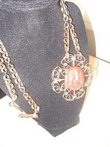 Vintage Copper Ladies Necklace With Carved Buddha