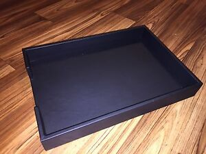 Handmade Black Leather Bound Desk Letter Tray Office Organizer Modern