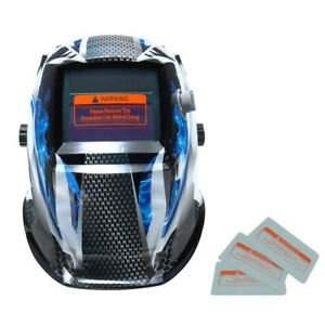 Magideal Auto Darkening Welding Helmet Mig Tig Arc Mask With Lens Ghost Fire