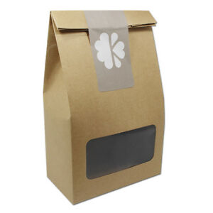 Small Gift Food Craft Packing Kraft Paper Box With Window Sealing Sticker Brown