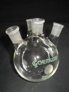 Chemglass 14 20 Joints Angled 4 neck 250ml Round Bottom Flask