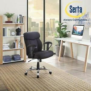 Black Mesh Fabric Big And Tall Manager Chair Serta Office Furniture