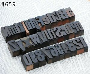 A z 0 9 Alphabet Number Letterpress Wood Printing Blocks Wooden Type Printer Abc