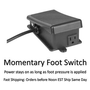 Momentary On Off Electric Foot Switch Hands Free Pedal For Power Tools New