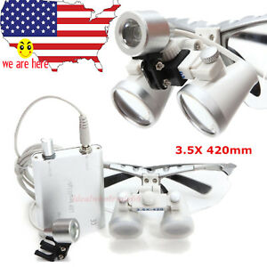 5sets Silver Dental Surgical Binocular Loupes Eyeglasses 3 5 X420 Led Head Light