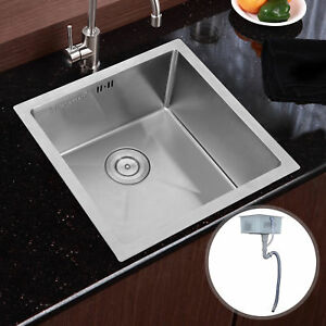 Stainless Steel Top Mount Kitchen Sink Commercial Single Bowl Washing Basin Set