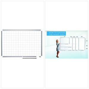 Mastervision Planning Board Porcelain Dry Erase Magnetic 1 X 1 Grid 36 X 48