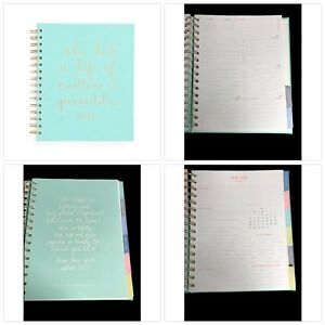 2018 Daily Planner Turquoise Mint Spiral With Tabs 12 Monthly Planning Calenda