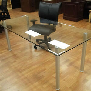 6 8 Glass Conference Table Office Modern Meeting Room With Metal Rectangular