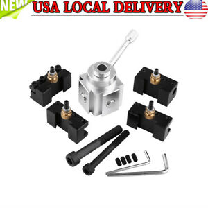 Mini Quick Change Tool Post 4 Cutter Holder Kit Set For 7 x10 12 14 Lathes