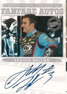 Austin Dillon PRESS PASS PRESENTS FANFARE 2013 #3 signed card *FREE SHIPPING* $39.99