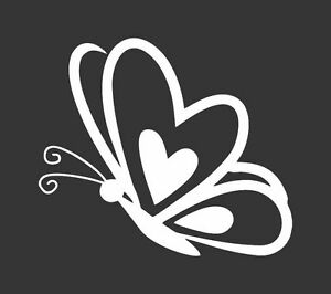 Butterfly Heart 345 Die Cut Vinyl Window Decal Sticker For Car Truck