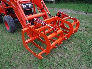 Kubota Skid Steer Tractor Attachment 72 Root Rake Grapple Bucket Free Ship
