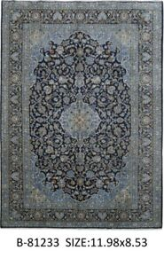 Signed 9 X 12 Persian Kashan Popular Design Navy Blue Handmade Rug