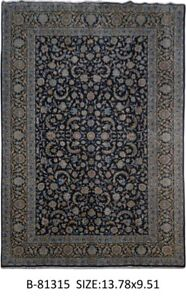 Persian Traditional Carpets Hand Knotted Signed 10 X 14 Kashan Navy Blue Rug