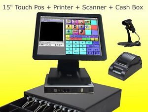 Pos System 15 Inch Point Of Sale Register Touch Screen Restaurant Bar Retail