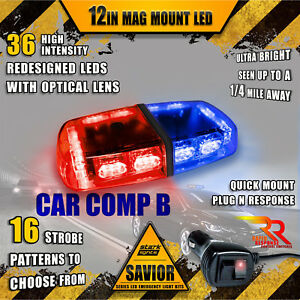 36 Led Light Bar Top Magnetic Hazard Roof Flash Emergency Strobe Truck Red Blue