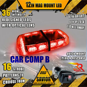 36 Led Light Bar Top Oval Magnetic Flashing Hazard Roof Emergency Strobe Red