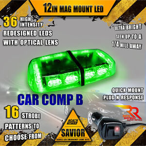 36 Led Light Bar Top Oval Magnetic Flashing Hazard Roof Emergency Strobe Green