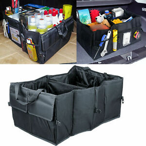 Black Fold Able Fabric Car Organizer Trunk Box Portable Bag Storage Case Cargo
