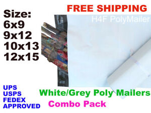 Set 200 Poly Mailers Shipping Envelopes Bags 50 Each 6x9 9x12 10x13 12x15 Combo