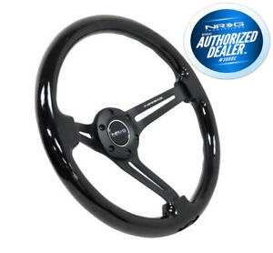Nrg Steering Wheel Black Wood Grain Black Spokes 350mm 3 Deep Rst 018bk Bk