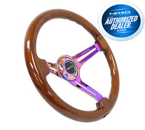 Nrg Steering Wheel Brown Wood Grain Neo Chrome Spokes 350mm 3 Deep Rst 018br Mc