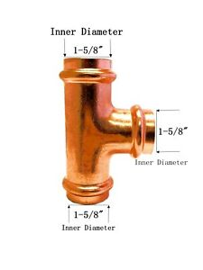 Libra Supply Lead Free 1 1 2 Inch 1 1 2 Press Copper Tee P X P X P Fittings