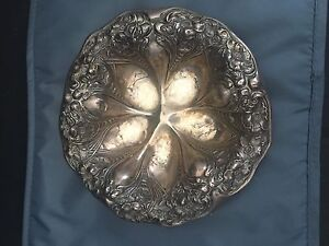 Unger Brothers Sterling Silver Repousse Art Nouveau Small Dish