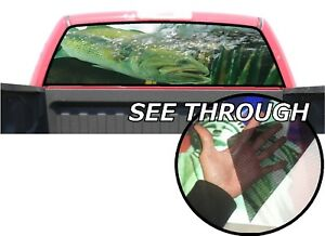 P02 Bass Fish Rear Window Tint Graphic Decal Wrap Back Pickup Graphics