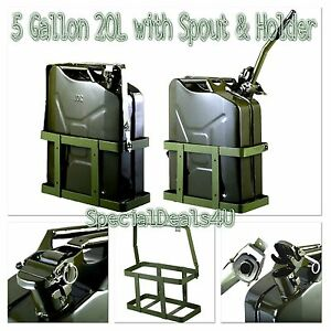 Jerry Can 5 Gallon 20l Gas Fuel Army Nato Military Metal Steel Tank Holder Kit
