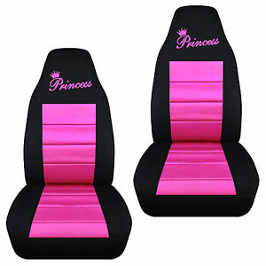 Cute Princess Front Car Seat Covers Blk Pink Red Purple Charcoal Choose Color