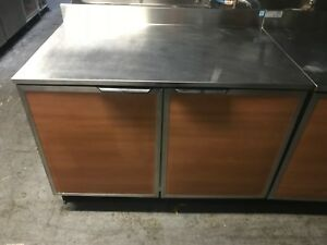 Duke 48 Refrigerated 2 Door Back Bar Cooler Wood Finish On Doors W green Sides