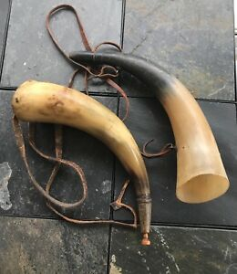 Circa 1860 S Black Powder Horn And Warning Horn Set