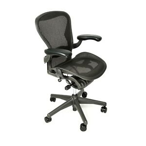 Herman Miller Aeron Office Chair Fully Loaded Adj Arms Lumbar Tilt Lock