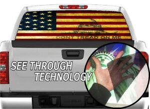 P337 Dont Tread On Me Rear Window Tint Graphic Decal Wrap Back Pickup Graphics