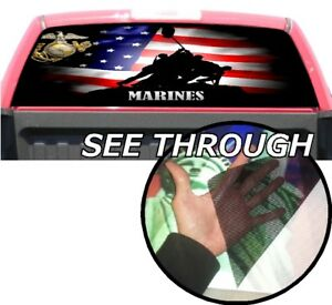 P354 American Flag Marines Rear Window Tint Graphic Decal Wrap Back Pickup