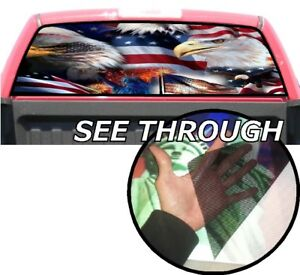P356 American Flag Eagles Rear Window Tint Graphic Decal Wrap Back Pickup