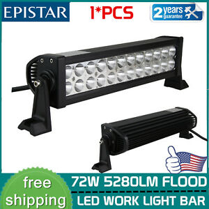 14 Inch 72w Flood Led Work Light Bar For Offroad Atv 4wd Suv Truck Driving Lamp