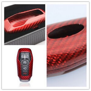 Red Carbon Fiber Remote Fob Smart Key Case Shell For Ford Mustang Gt Automatic