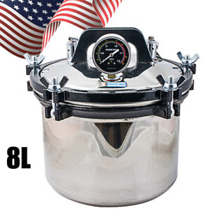 8l Steam Autoclave Sterilizer Dental Medical Pressure Sterilization Portable Pot