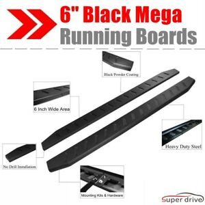76 Black Mega Running Boards For 2015 2018 Chevy Colorado Gmc Canyon Crew Cab
